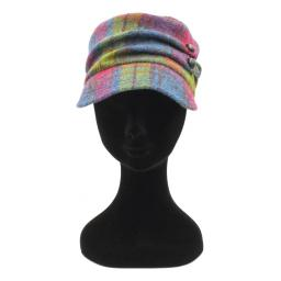 HARRIS TWEED CADET HAT RASPBERRY BLUE DRAB CHECK FRONT_clipped_rev_1.jpg