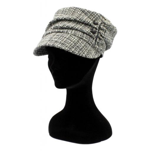 HARRIS TWEED CADET HAT BLACK WHITE CHANEL MIXED CHECK_clipped_rev_1.jpg