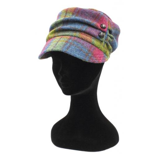 HARRIS TWEED CADET HAT RASPBERRY BLUE DRAB CHECK_clipped_rev_1.jpg