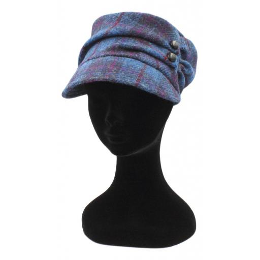 HARRIS TWEED CADET HAT BLUE NAVY RED CHECK_clipped_rev_1.jpg