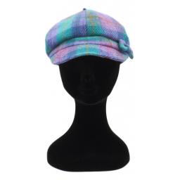 HARRIS TWEED BAKER BOY HAT WITH BOW  LILAC TURQ CHECK FRONT_clipped_rev_1.jpg