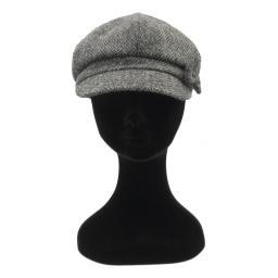 HARRIS TWEED BAKER BOY HAT WITH BOW BLACK GREY HERRINGBONE FRONT_clipped_rev_1.jpg