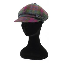 HARRIS TWEED BAKER BOY HAT WITH BOW GREEN PURPLE CHECK SIDE_clipped_rev_1.jpg