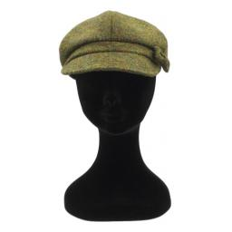 HARRIS TWEED BAKER BOY HAT WITH BOW  MOSS GREEN FRONT_clipped_rev_1.jpg