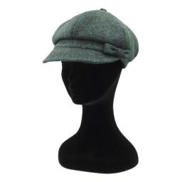 HARRIS TWEED BAKER BOY HAT WITH BOW  OCEAN GREEN SIDE_clipped_rev_1.jpg