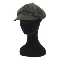 HARRIS TWEED BAKER BOY HAT WITH BOW  BLACK BROWN DOGTOOTH CHECK SIDE_clipped_rev_1.jpg
