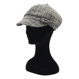 HARRIS TWEED BAKER BOY HAT WITH BOW BLACK GREY MIXED CHECK SIDE_clipped_rev_1.jpg