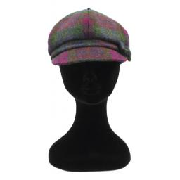 HARRIS TWEED BAKER BOY HAT WITH BOW GREEN PURPLE CHECK FRONT_clipped_rev_1.jpg
