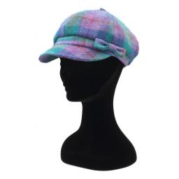 HARRIS TWEED BAKER BOY HAT WITH BOW  LILAC TURQ CHECK SIDE_clipped_rev_1.jpg