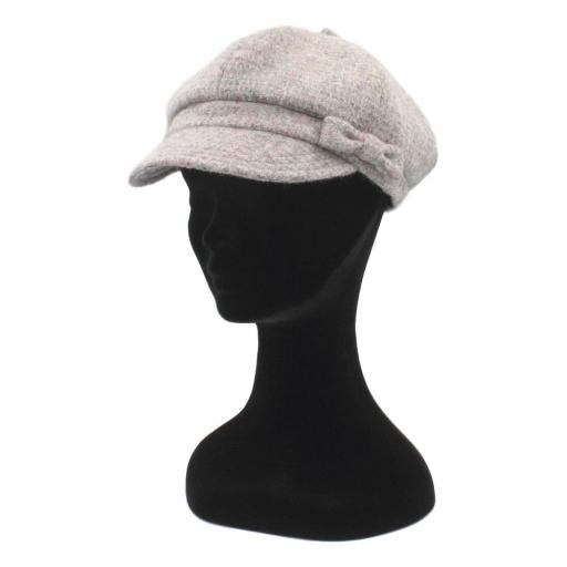 HARRIS TWEED BAKER BOY HAT WITH BOW  PINK GREY SMALL CHECK SIDE_clipped_rev_1.jpg