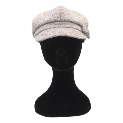 HARRIS TWEED BAKER BOY HAT WITH BOW  PINK GREY SMALL CHECK FRONT_clipped_rev_1.jpg