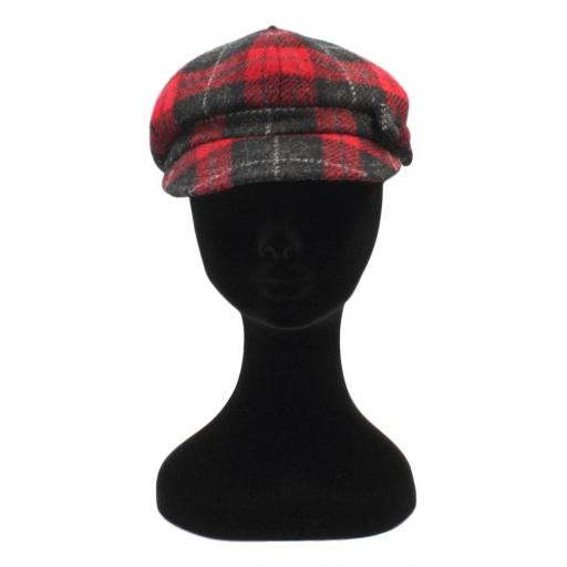 HARRIS TWEED BAKER BOY HAT WITH BOW  BLACK RED CHECK FRONT_clipped_rev_1.jpg