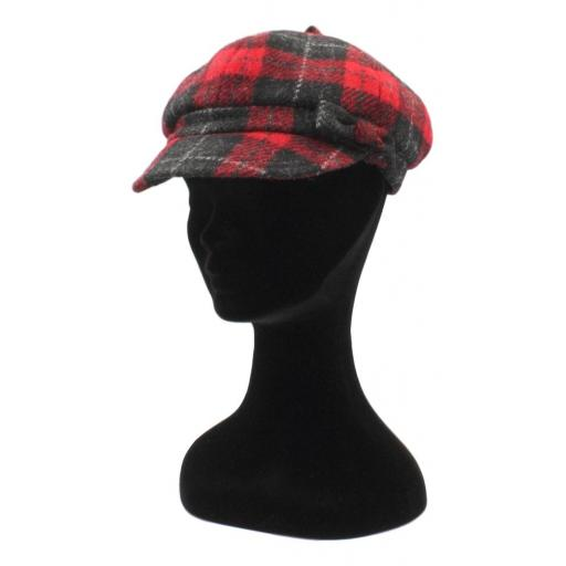 HARRIS TWEED BAKER BOY HAT WITH BOW  BLACK RED CHECK SIDE_clipped_rev_1.jpg
