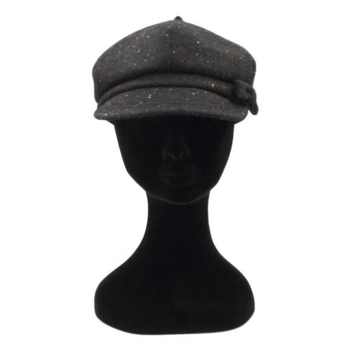 HARRIS TWEED BAKER BOY HAT WITH BOW BLACK MULTI SPECKLE FRONT_clipped_rev_1.jpg