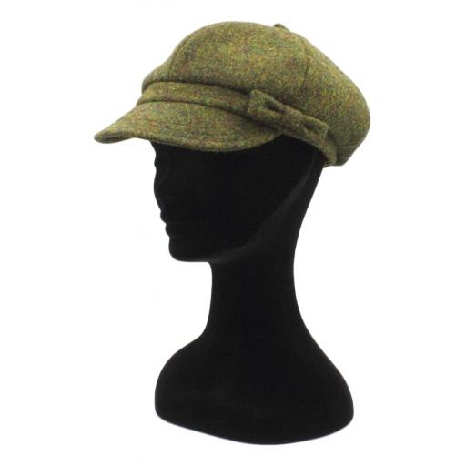 HARRIS TWEED BAKER BOY HAT WITH BOW  MOSS GREEN SIDE_clipped_rev_1.jpg