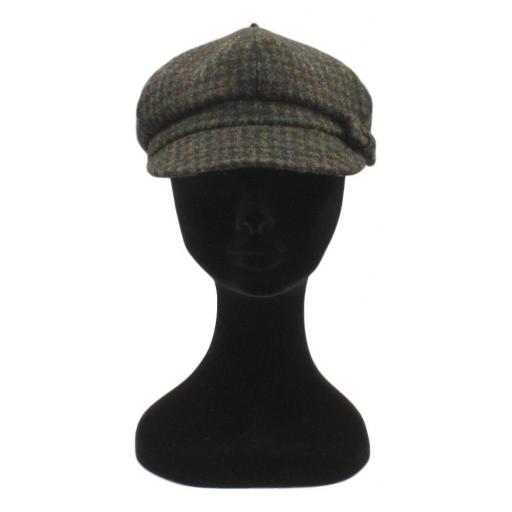 HARRIS TWEED BAKER BOY HAT WITH BOW  BLACK BROWN DOGTOOTH CHECK FRONT_clipped_rev_1.jpg
