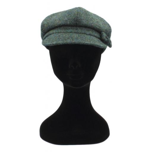 HARRIS TWEED BAKER BOY HAT WITH BOW  OCEAN GREEN FRONT_clipped_rev_1.jpg