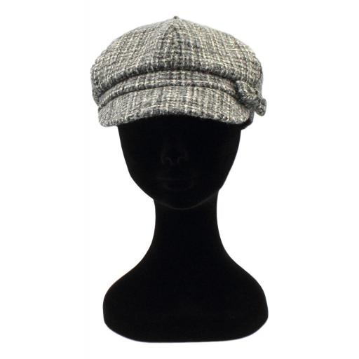 HARRIS TWEED BAKER BOY HAT WITH BOW BLACK GREY MIXED CHECK FRONT_clipped_rev_1.jpg