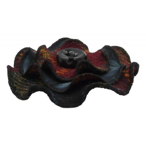 Circle Corsage Black Claret Olive Check Black Batik  Side.jpg