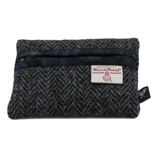 Zip Purse Black Grey Herringbone Black Batik.jpg