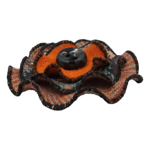 Circle Corsage Orange Herringbone Paisley Corals Side.jpg